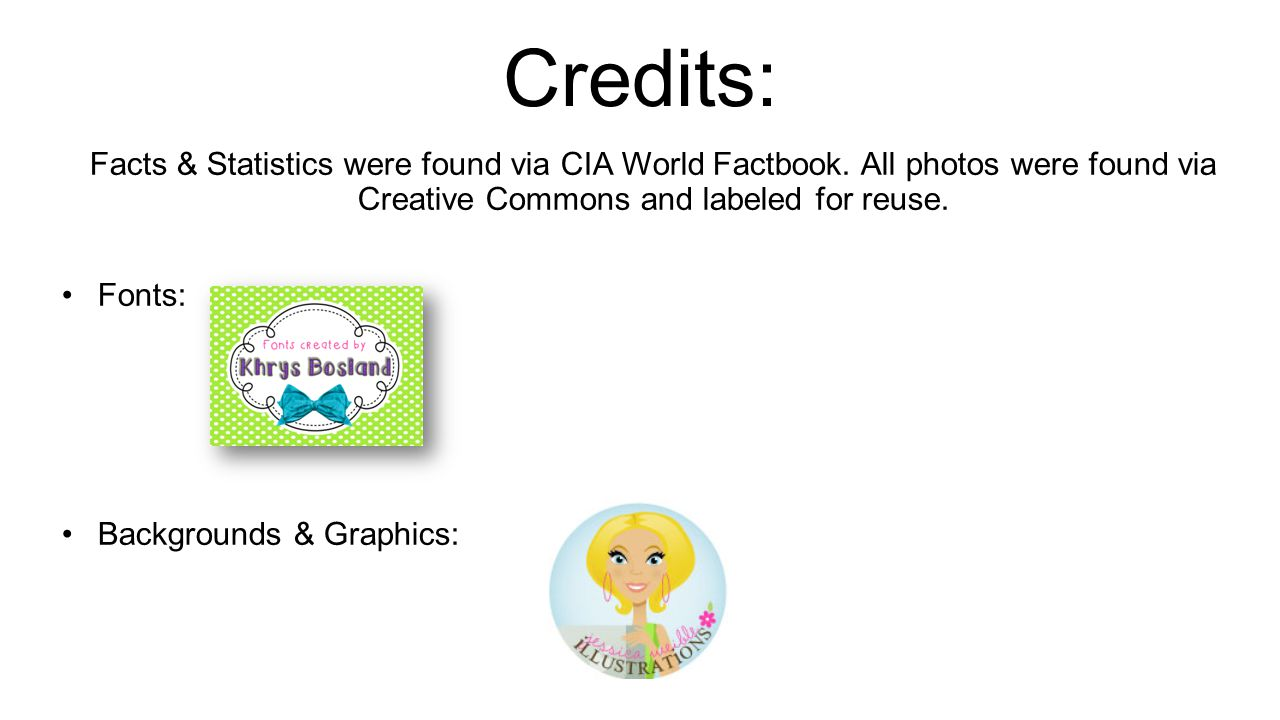 Credits: Facts & Statistics were found via CIA World Factbook. All photos were found via Creative Commons and labeled for reuse.