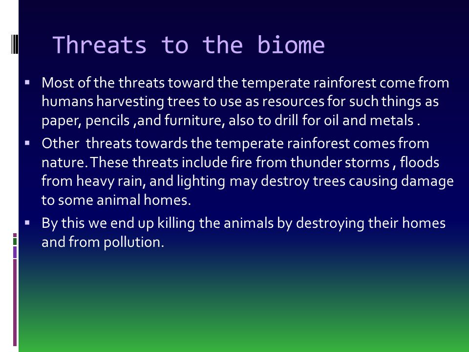Threats to the biome