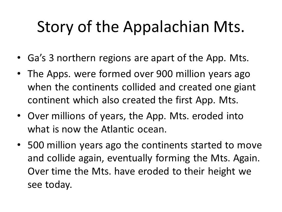 Story of the Appalachian Mts.