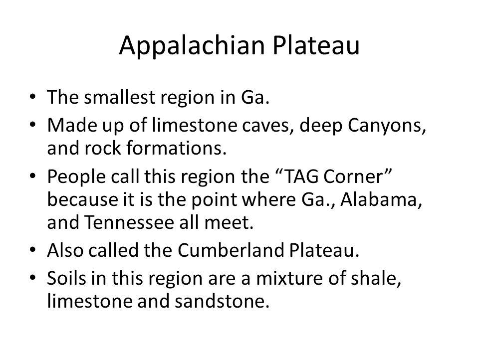 Appalachian Plateau The smallest region in Ga.