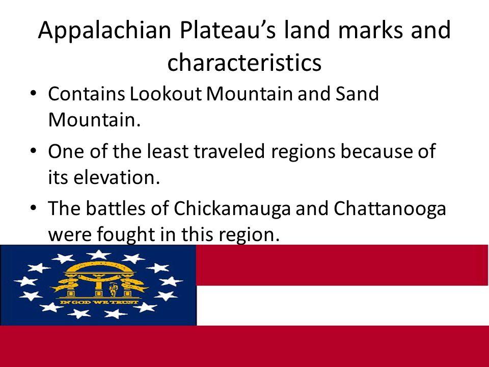 Appalachian Plateau's land marks and characteristics