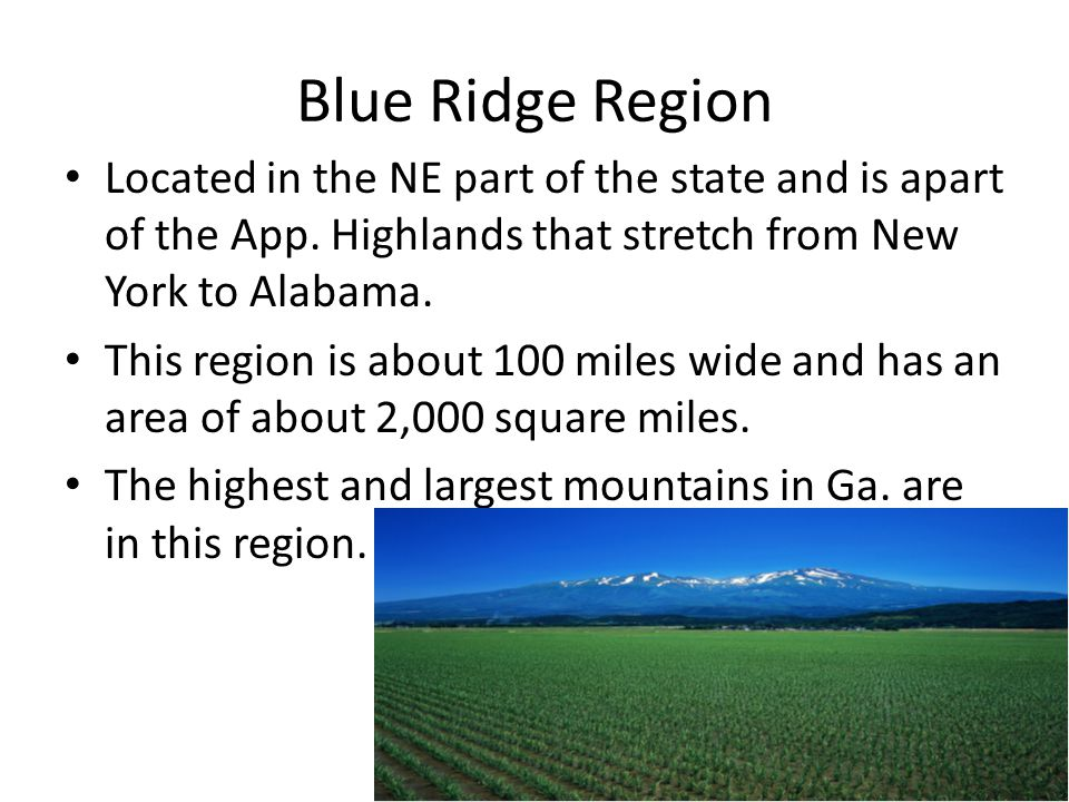 Blue Ridge Region Located in the NE part of the state and is apart of the App. Highlands that stretch from New York to Alabama.