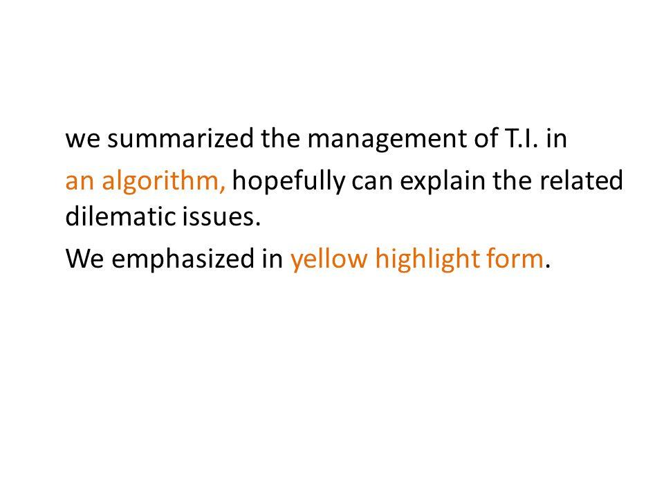 we summarized the management of T. I