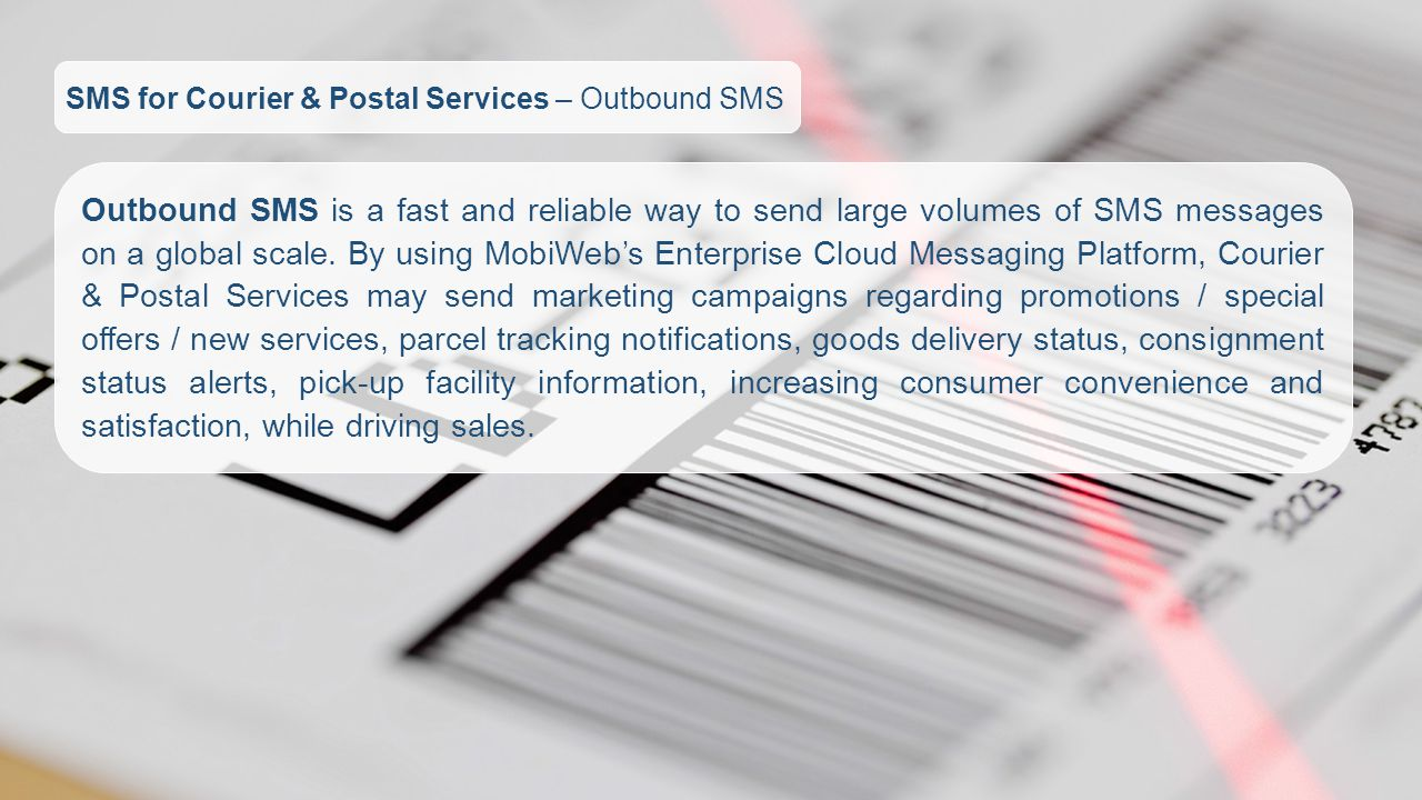 SMS for Courier & Postal Services – Outbound SMS