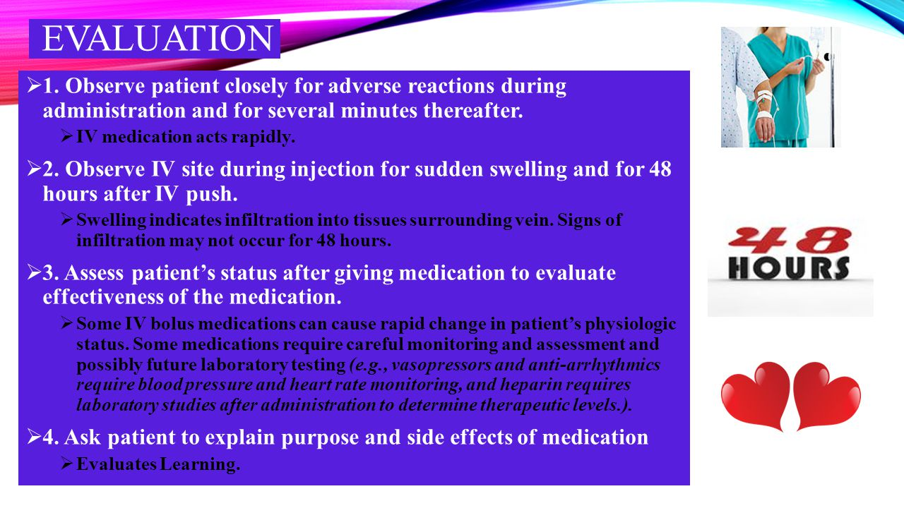EVALUATION 1. Observe patient closely for adverse reactions during administration and for several minutes thereafter.