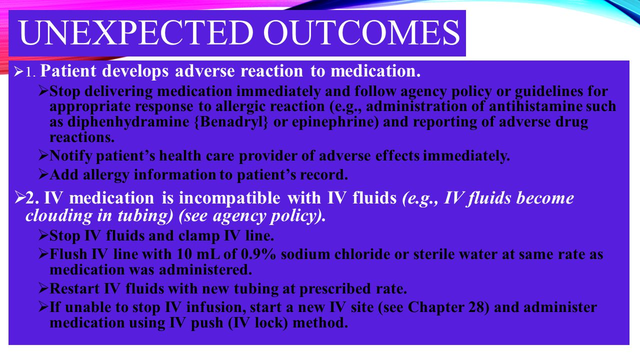 Unexpected outcomes 1. Patient develops adverse reaction to medication.