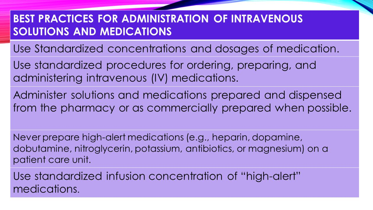 Use Standardized concentrations and dosages of medication.