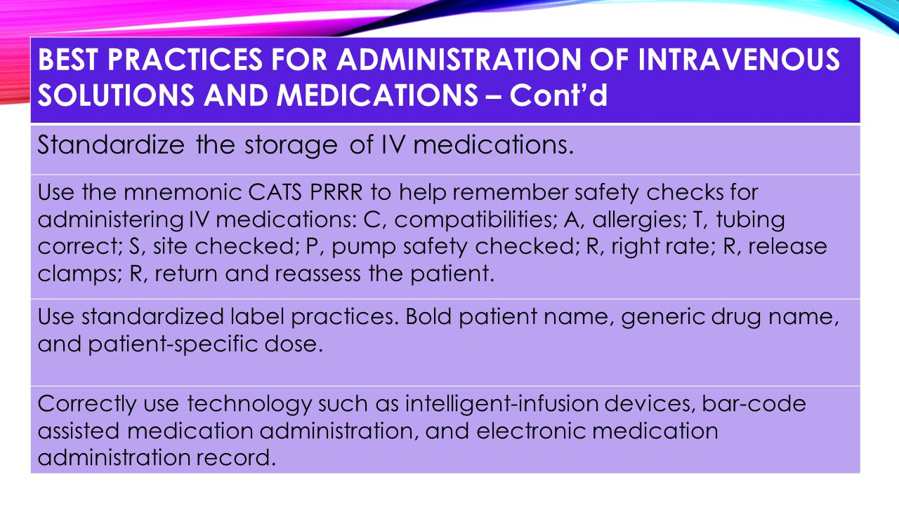 BEST PRACTICES FOR ADMINISTRATION OF INTRAVENOUS SOLUTIONS AND MEDICATIONS – Cont'd