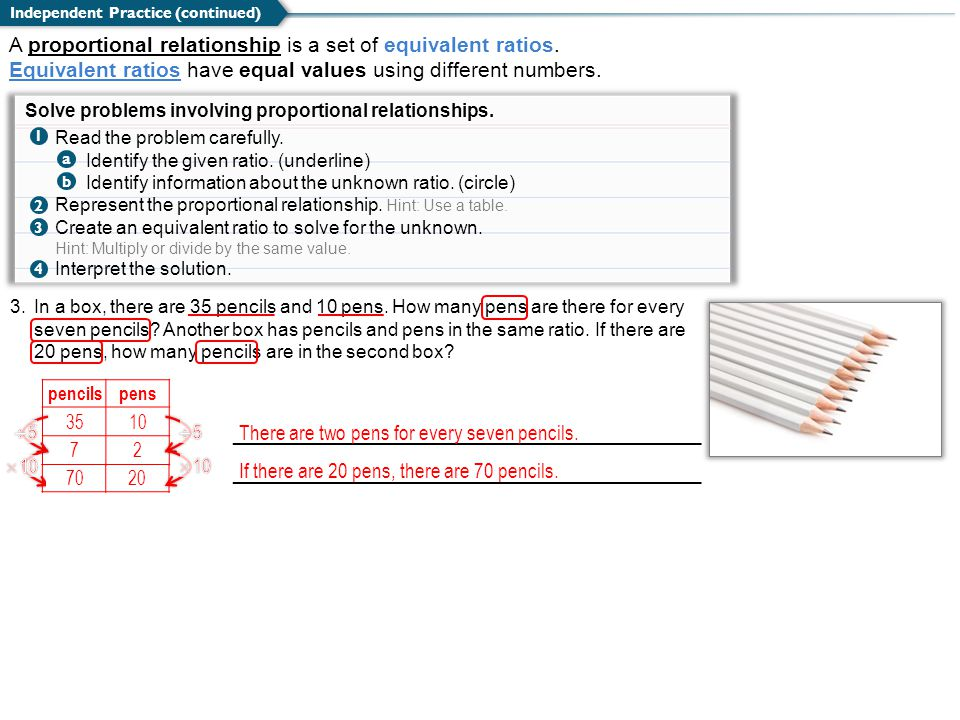 A proportional relationship is a set of equivalent ratios.
