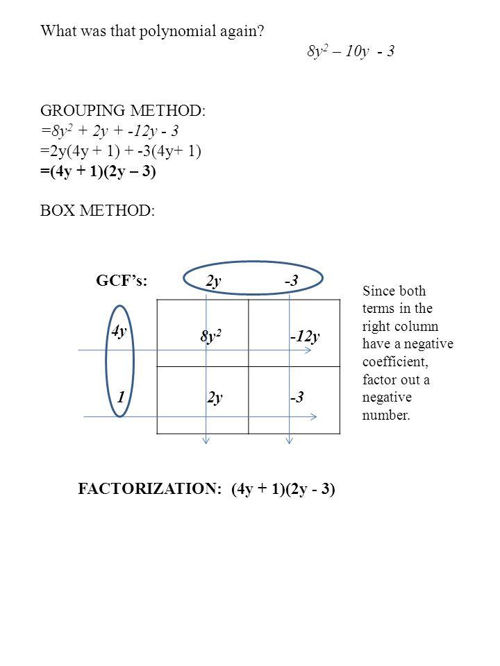 What was that polynomial again 8y2 – 10y - 3