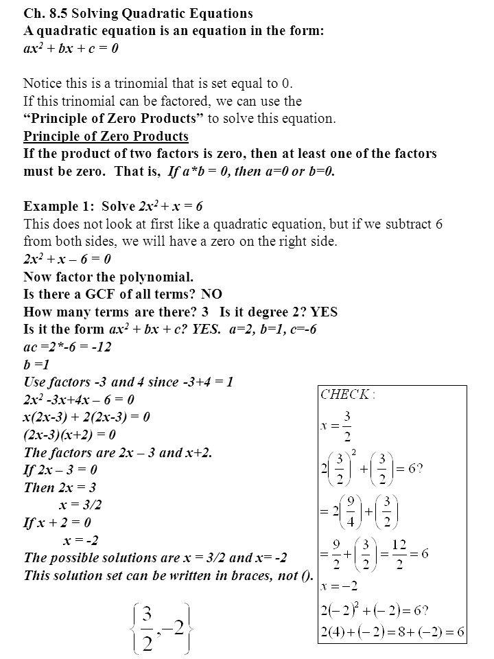 Ch. 8.5 Solving Quadratic Equations