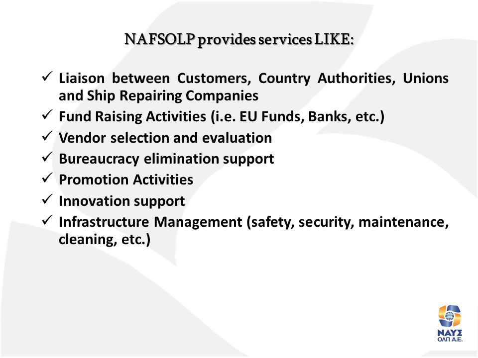 NAFSOLP provides services LIKE: