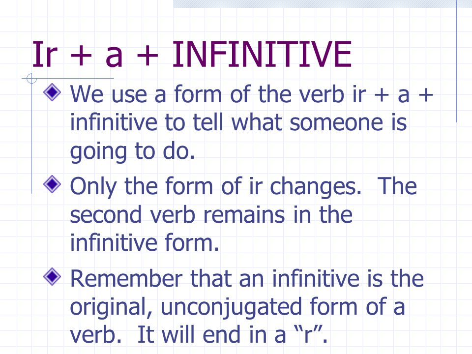 Ir + a + INFINITIVE We use a form of the verb ir + a + infinitive to tell what someone is going to do.