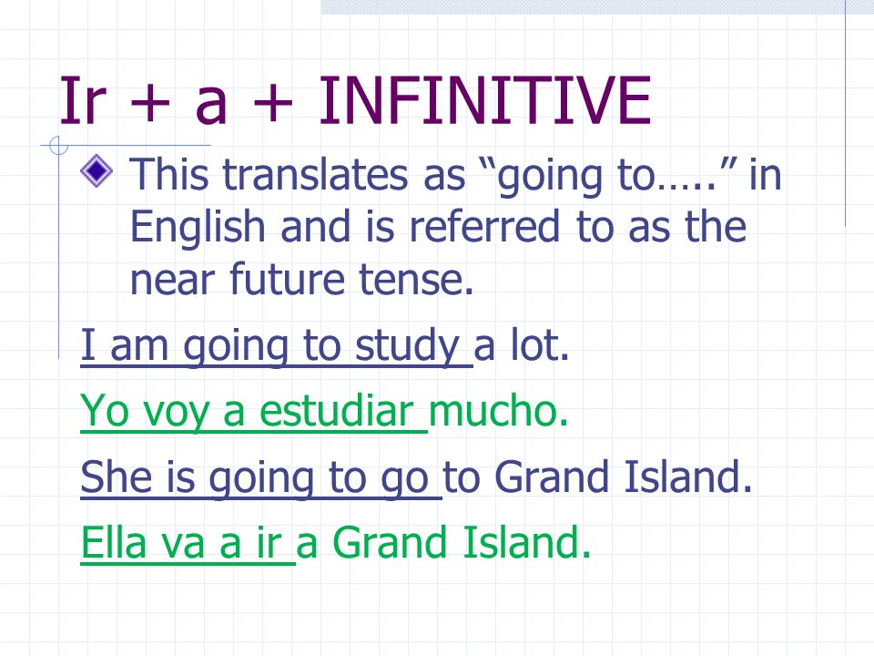 Ir + a + INFINITIVE This translates as going to….. in English and is referred to as the near future tense.