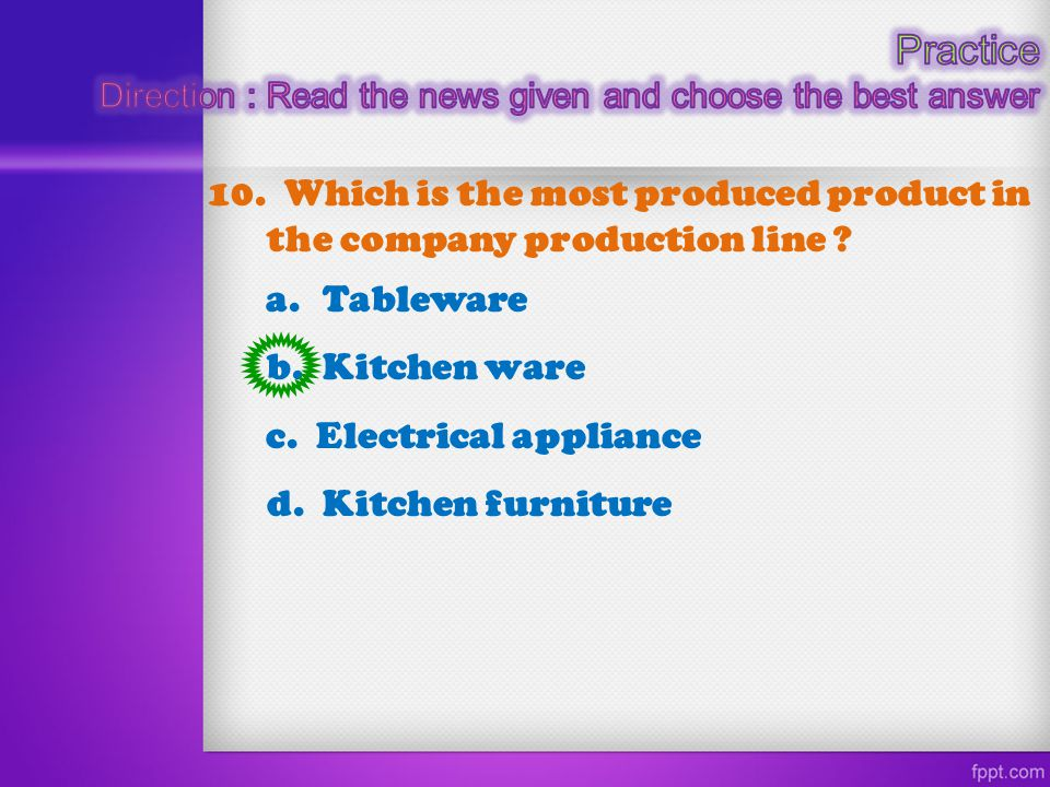 Practice Direction : Read the news given and choose the best answer. 10. Which is the most produced product in the company production line