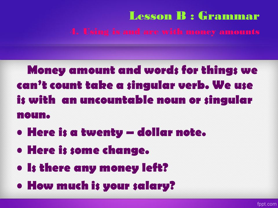 Lesson B : Grammar 4. Using is and are with money amounts