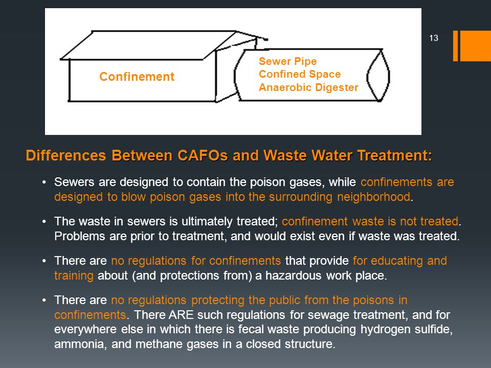 Differences Between CAFOs and Waste Water Treatment: