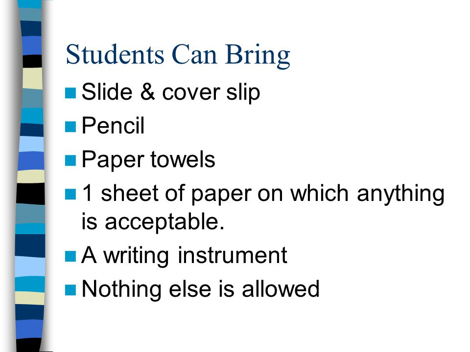 Students Can Bring Slide & cover slip Pencil Paper towels
