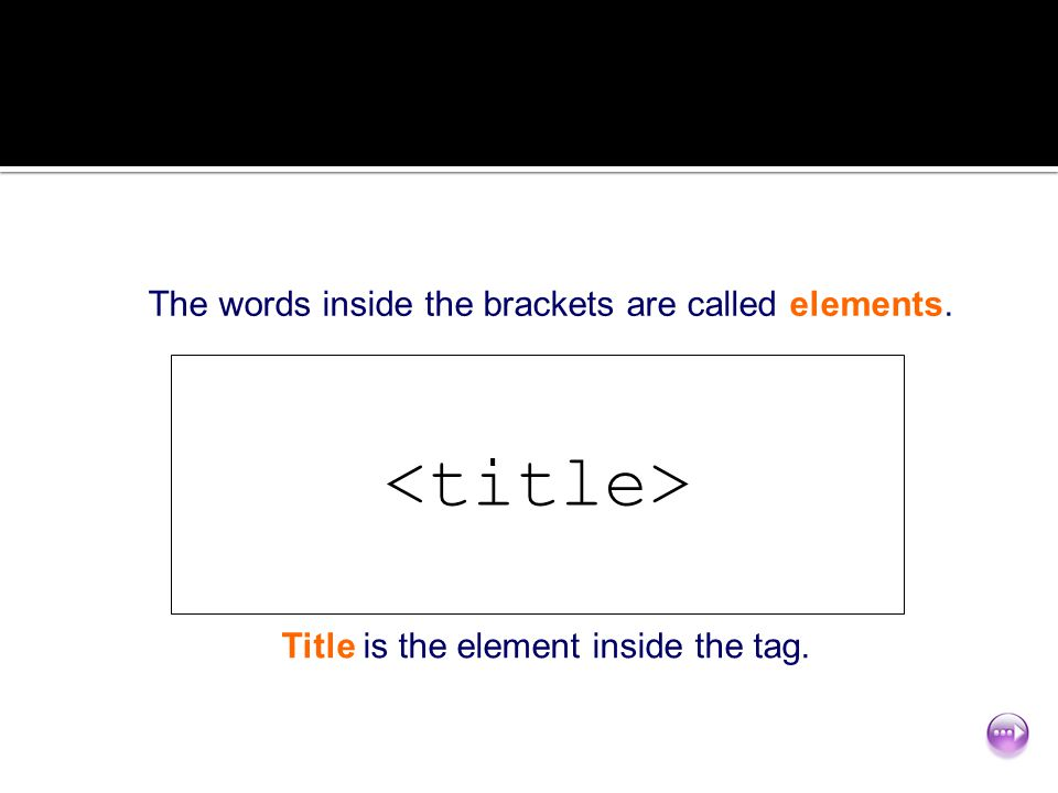 <title> The words inside the brackets are called elements.