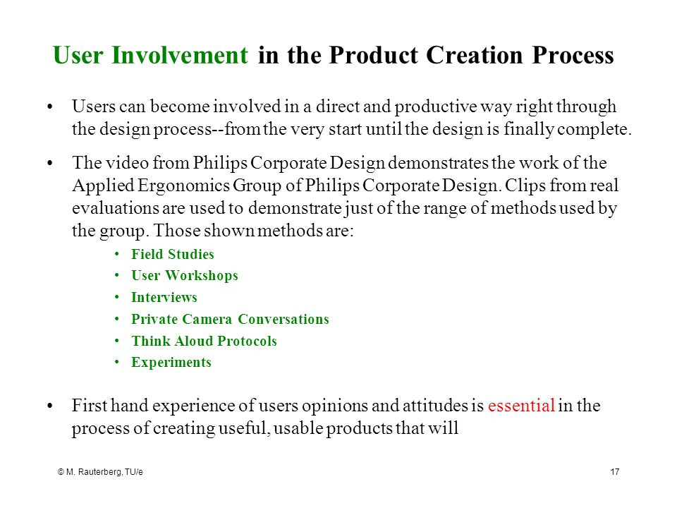 User Involvement in the Product Creation Process