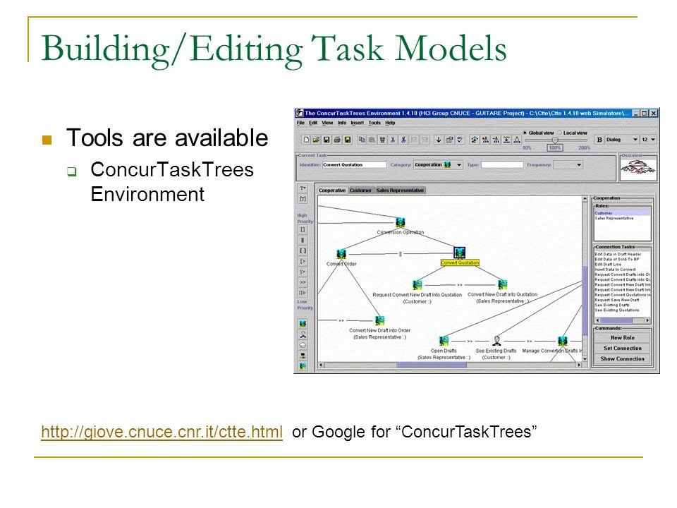 Building/Editing Task Models