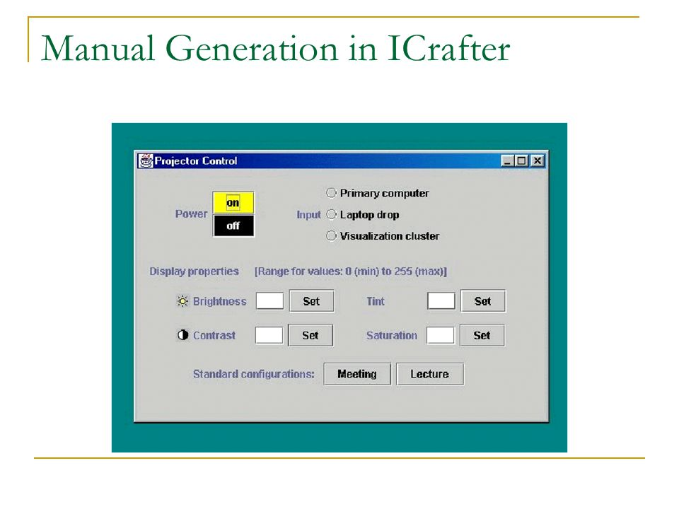 Manual Generation in ICrafter
