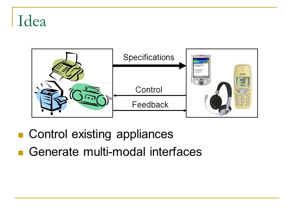 Idea Control existing appliances Generate multi-modal interfaces