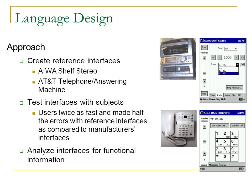 Language Design Approach Create reference interfaces