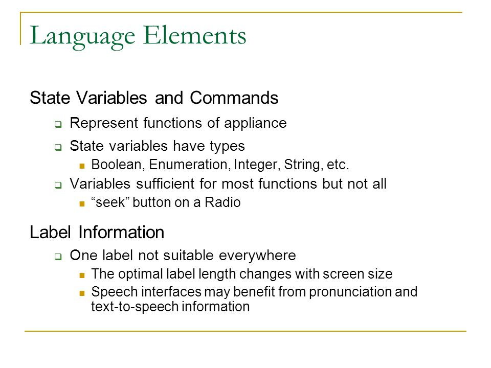 Language Elements State Variables and Commands Label Information