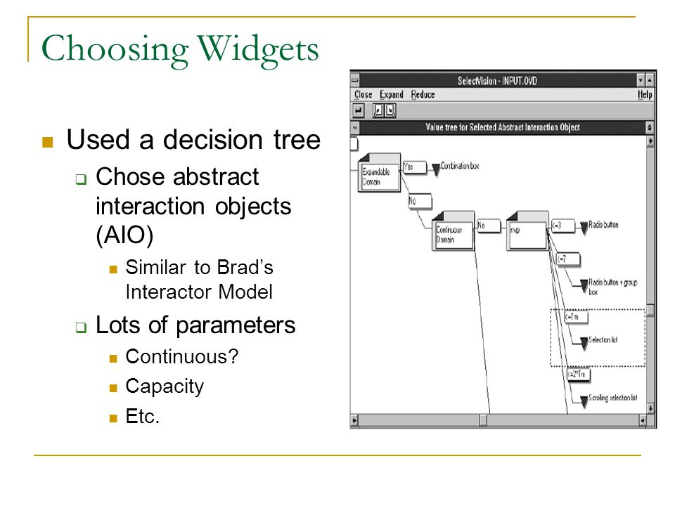Choosing Widgets Used a decision tree