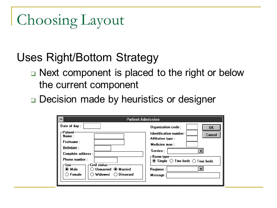 Choosing Layout Uses Right/Bottom Strategy