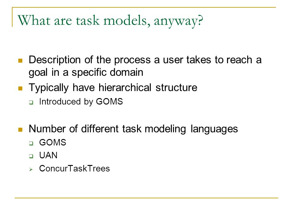 What are task models, anyway