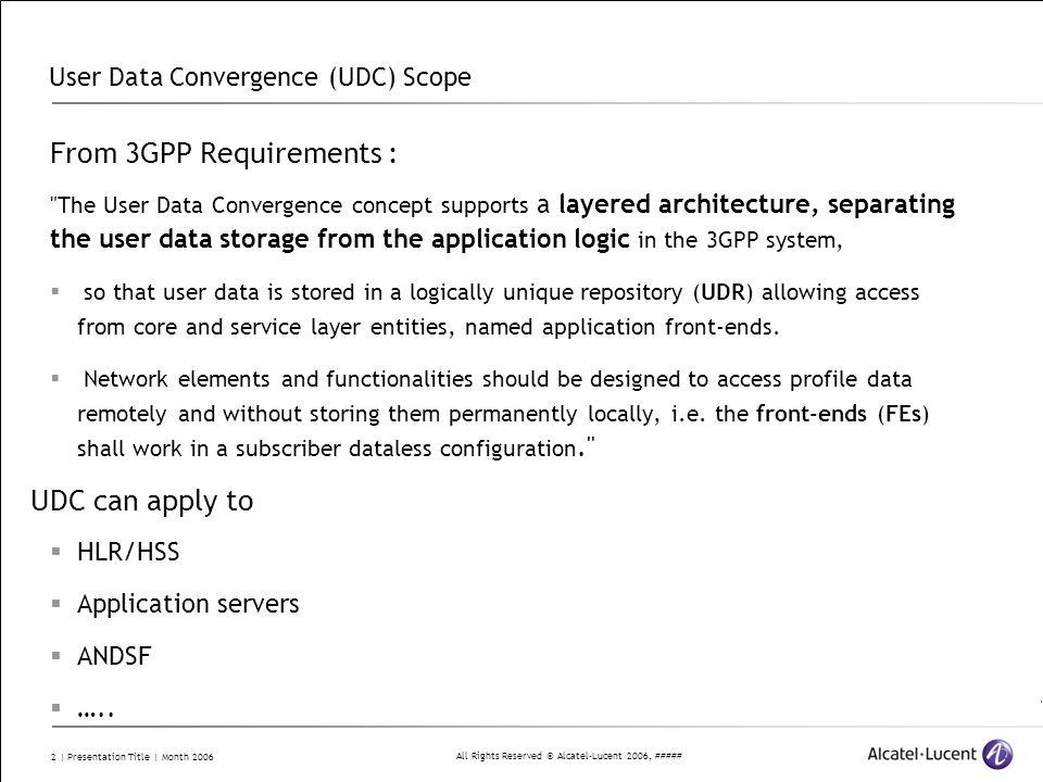 User Data Convergence (UDC) Scope