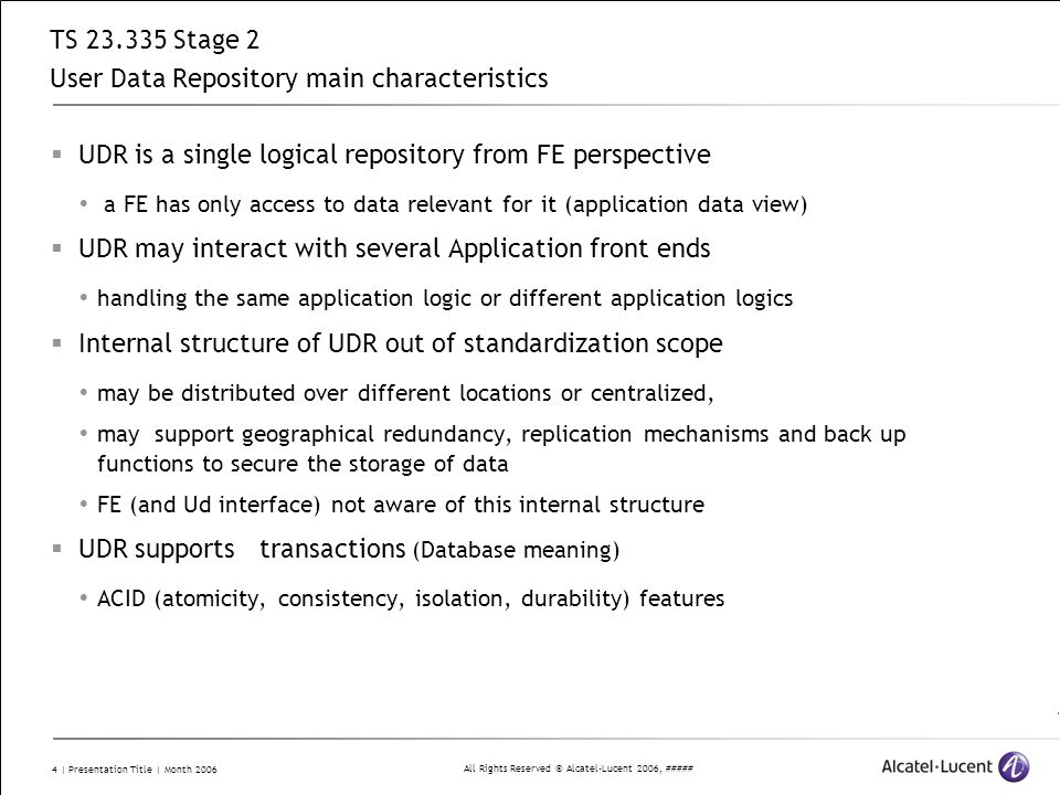 TS 23.335 Stage 2 User Data Repository main characteristics