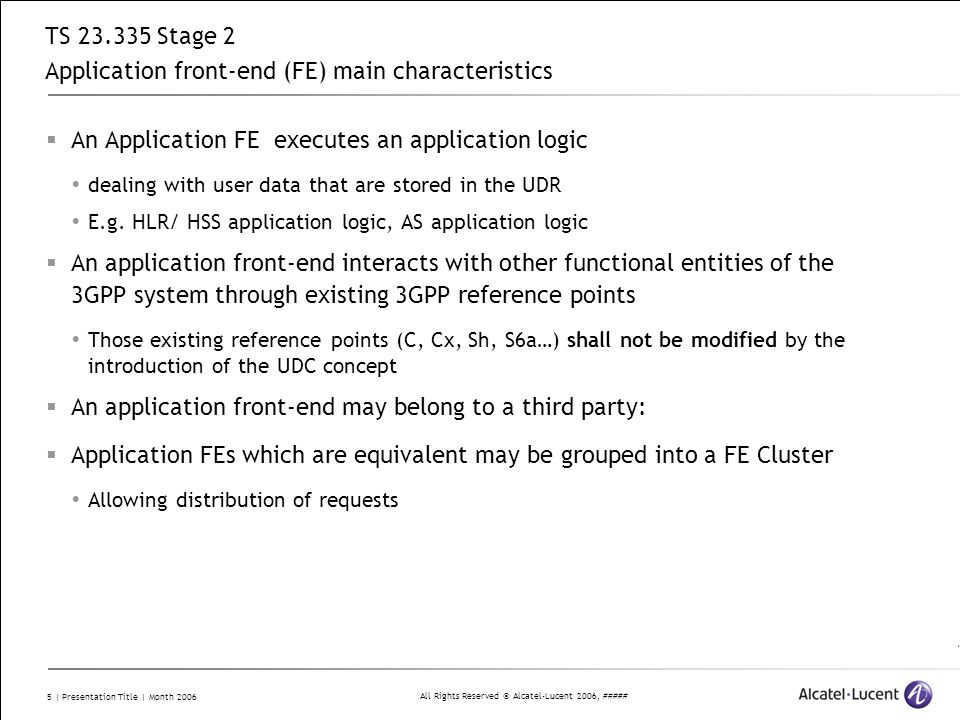 TS 23.335 Stage 2 Application front-end (FE) main characteristics