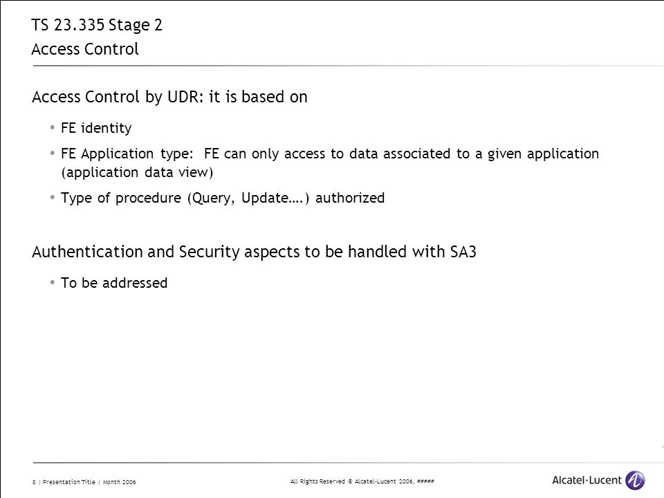 TS 23.335 Stage 2 Access Control