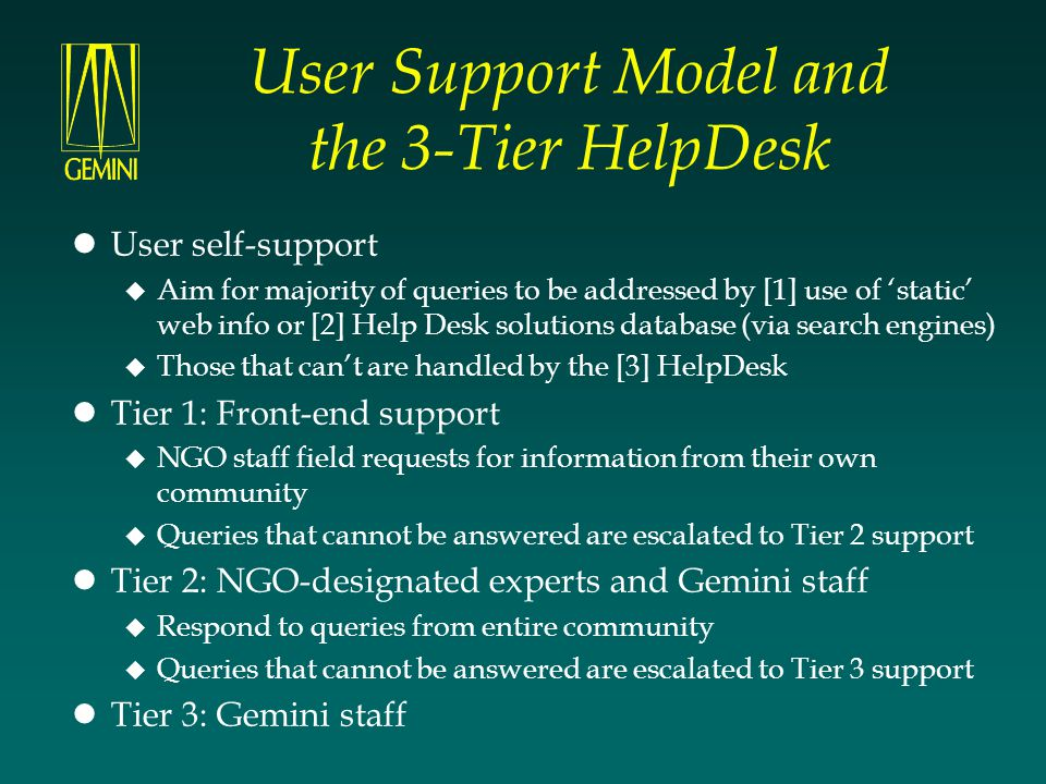 User Support Model and the 3-Tier HelpDesk