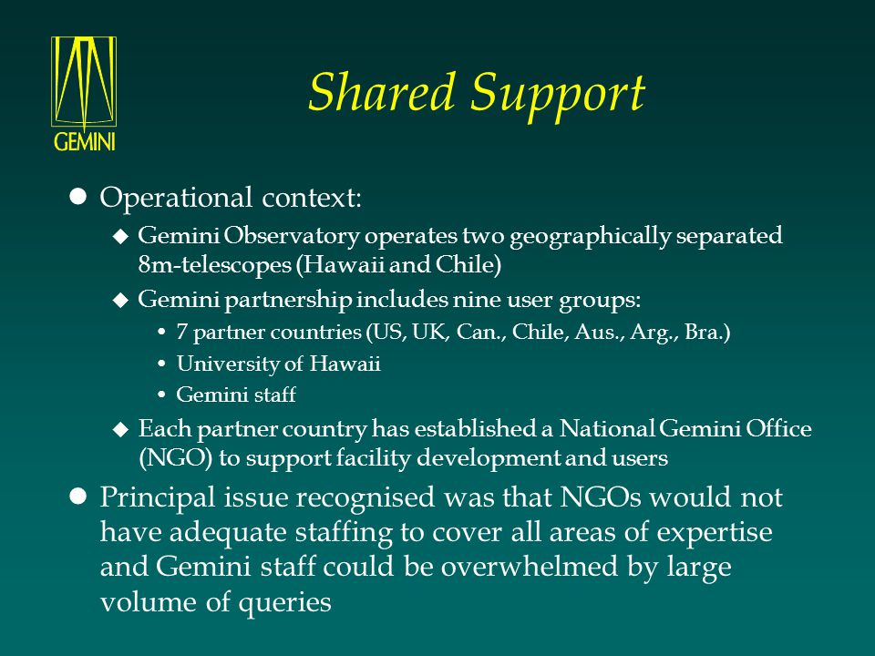 Shared Support Operational context: