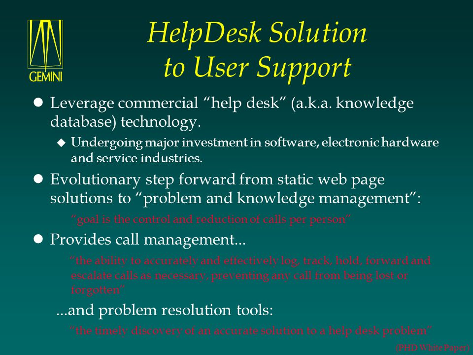 HelpDesk Solution to User Support