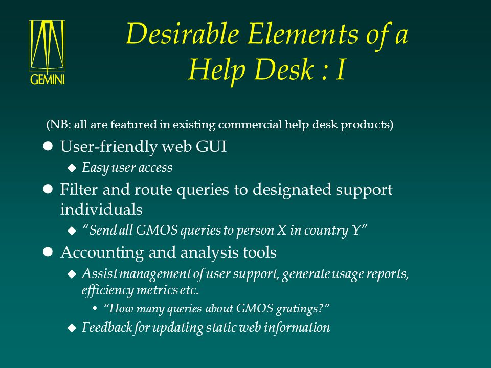 Desirable Elements of a Help Desk : I