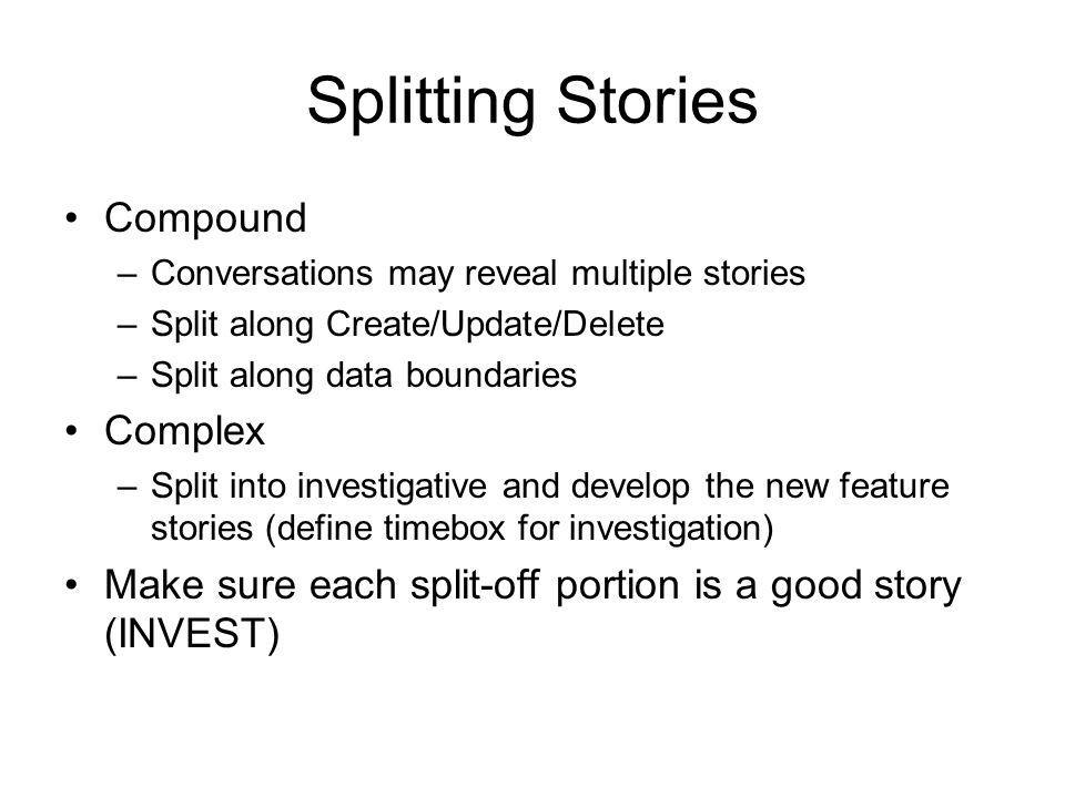 Splitting Stories Compound Complex