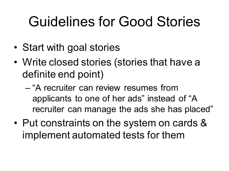 Guidelines for Good Stories