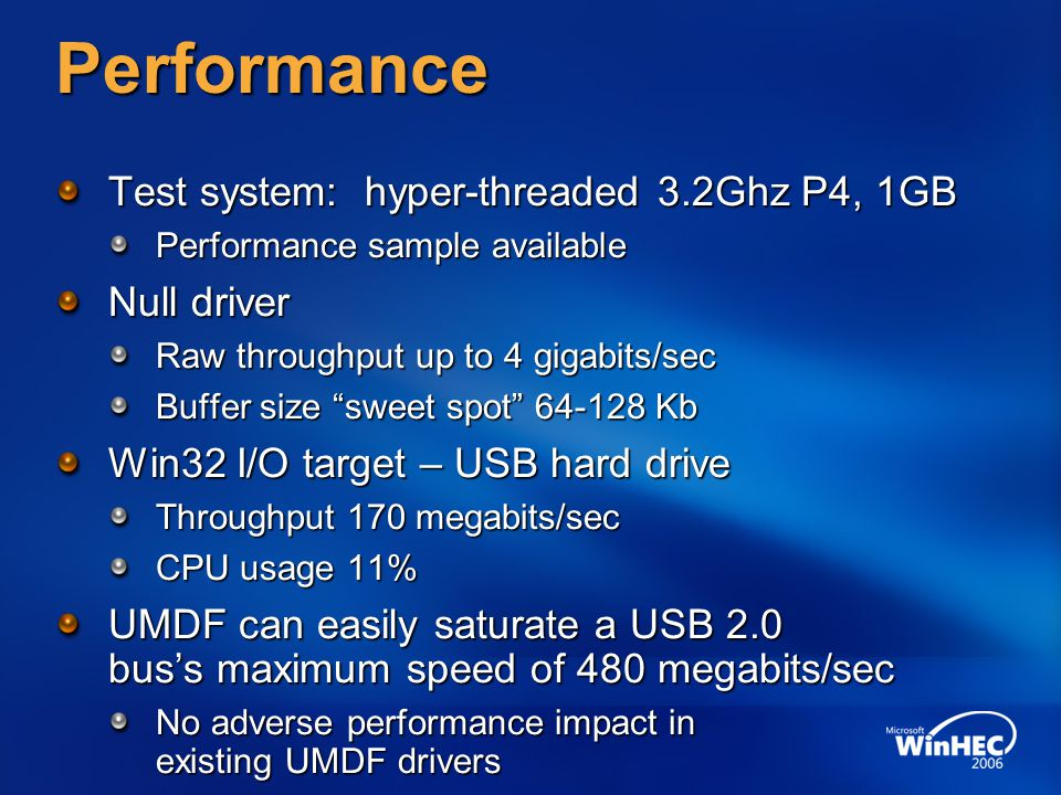Performance Test system: hyper-threaded 3.2Ghz P4, 1GB Null driver