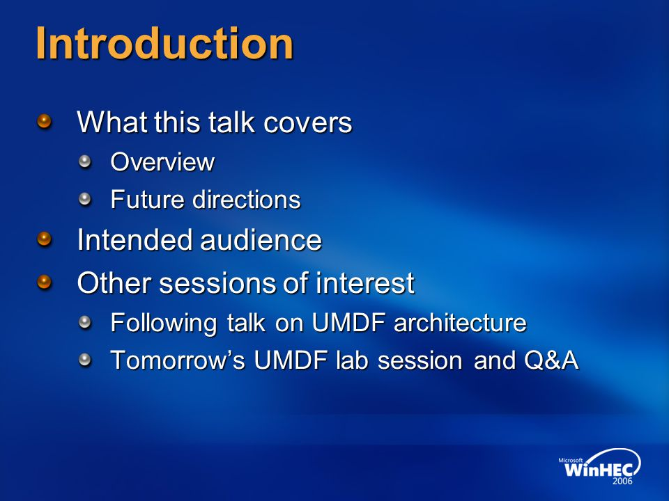 Introduction What this talk covers Intended audience