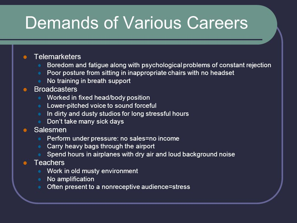 Demands of Various Careers