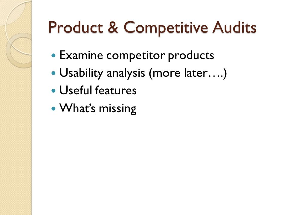 Product & Competitive Audits
