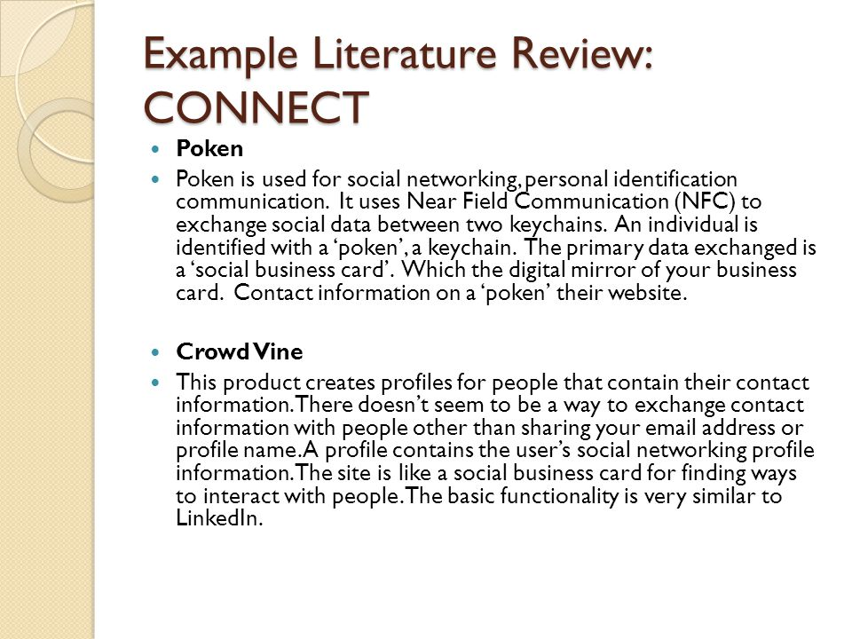 Example Literature Review: CONNECT