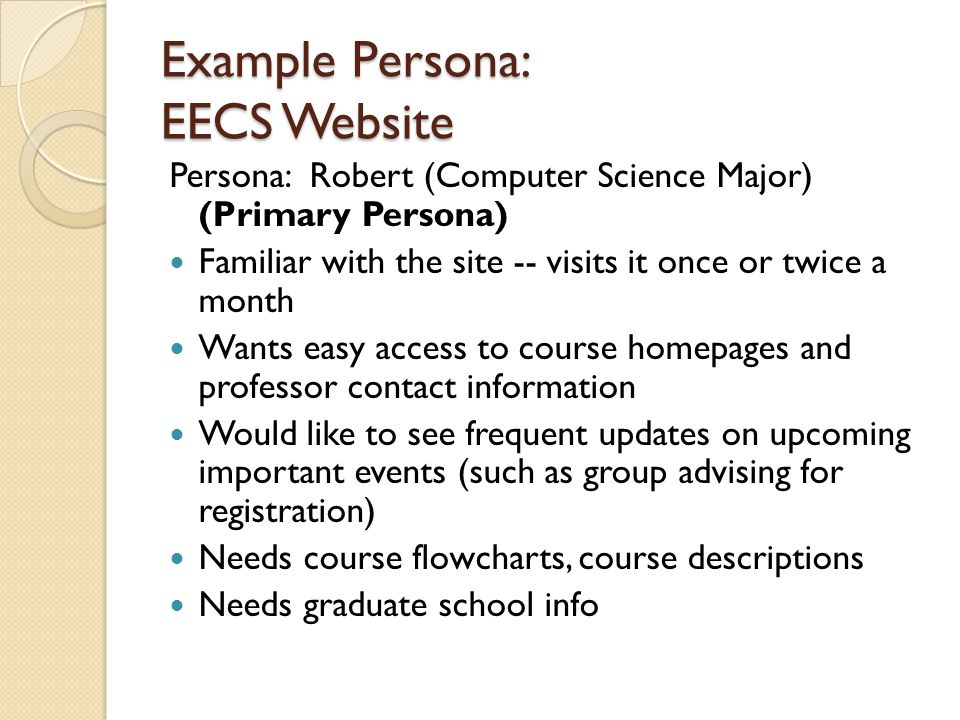 Example Persona: EECS Website