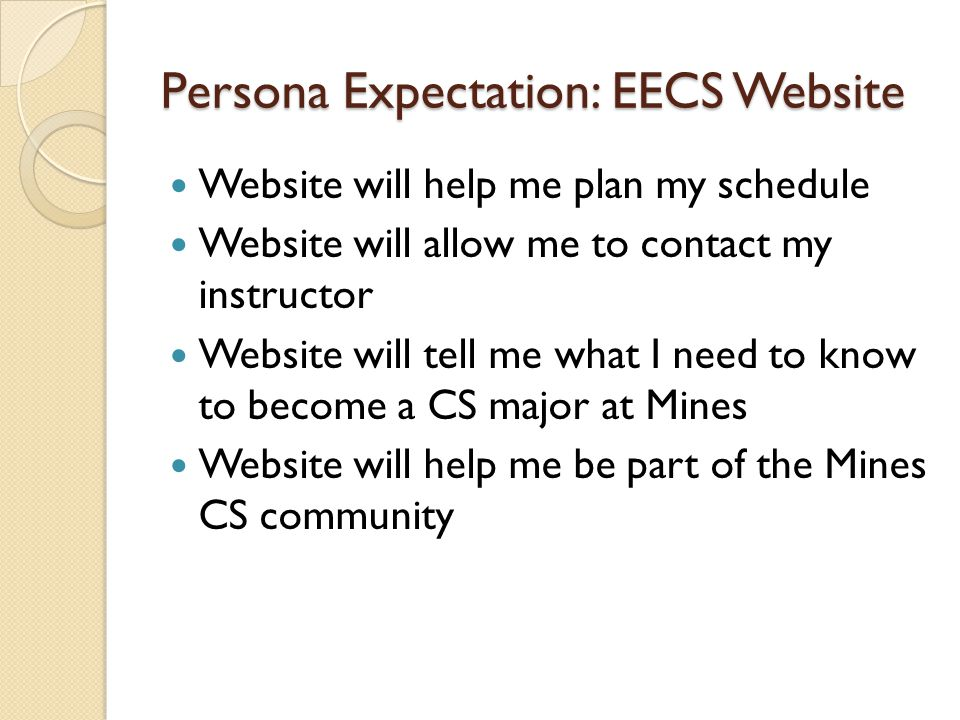 Persona Expectation: EECS Website