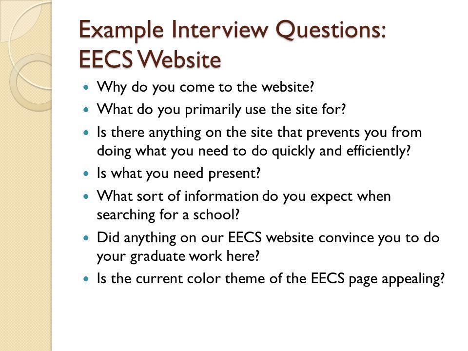 Example Interview Questions: EECS Website